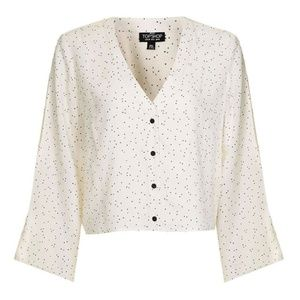 Topshop Star Print Cropped Blouse
